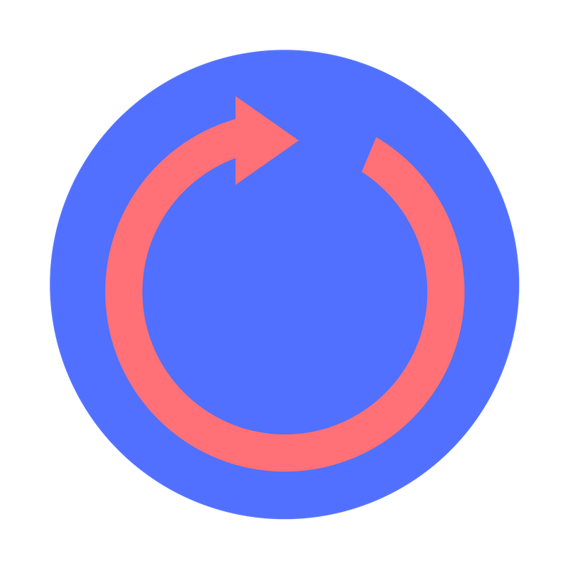 Blue circle with a red arrow inside. The red arrow follows the perimeter of the whole circle.