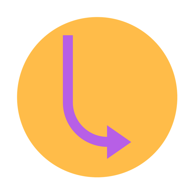 Purple arrow pointing down and to the right inside of a yellow circle.
