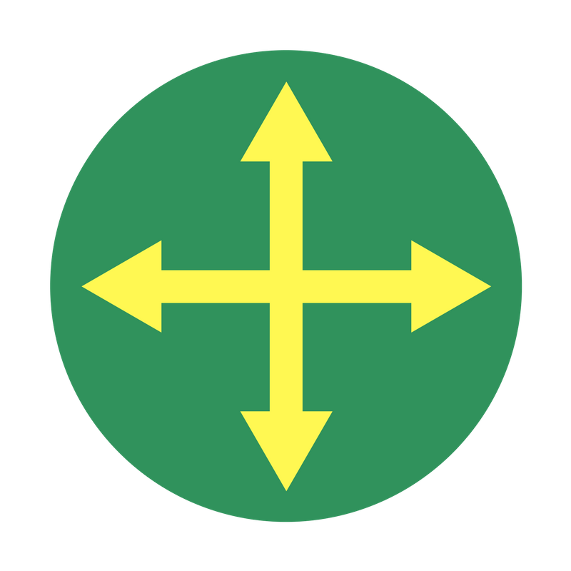 Green circle with four yellow arrows joined at the center, pointing up, down, right, and left.